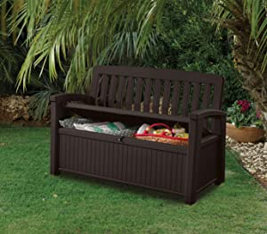 keter kissenbox regenfest gartenkissenbox patio bank espresso braun 138 6 x 63 5 x 88 cm. Black Bedroom Furniture Sets. Home Design Ideas