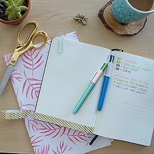 BIC 4 colour pen;multi function pen; ballpoint pens; ballpoint pen; bullet journaling;writing