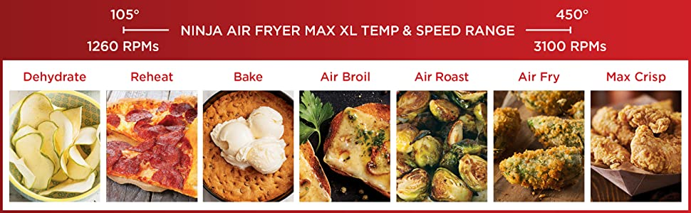 AF161, Ninja, Air Fryer, Temperature, range