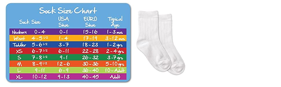Jefferies socks, boys, toddler, cotton, crew, rib, dress, everyday, socks, size guide
