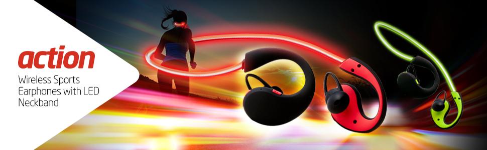 action wireless sports LED earphones