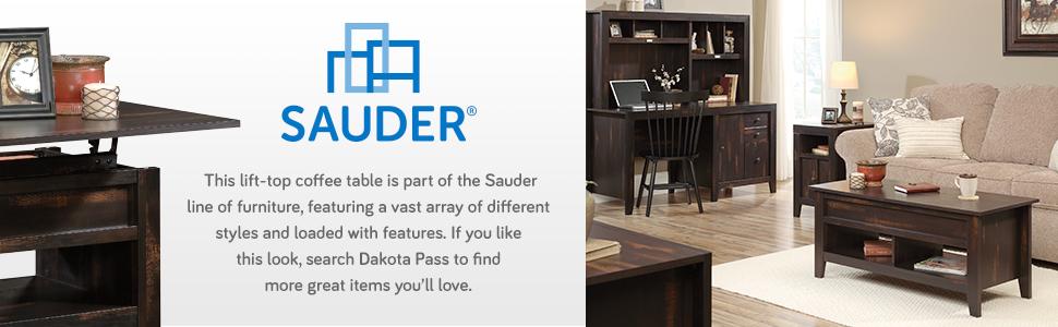 Sauder Dakota Pass Lift Top Coffee Table in a Char Pine