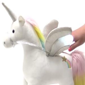 unicorn plush stuffed animal light up rainbow mane sparkle wings holographic horn holo star gund