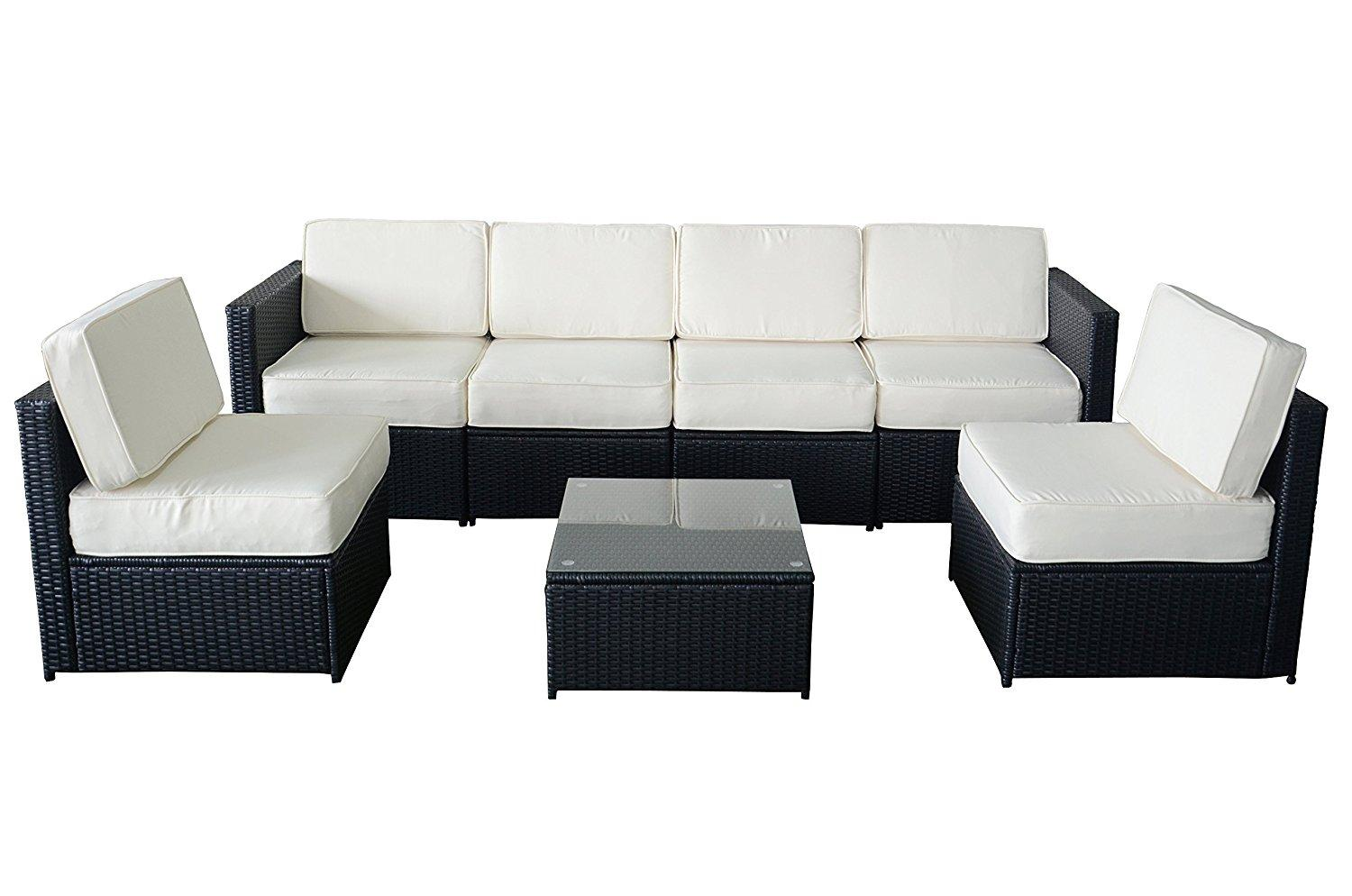 Amazon.com : MCombo 6085-S1007 7 Piece Wicker Patio Sectional ...