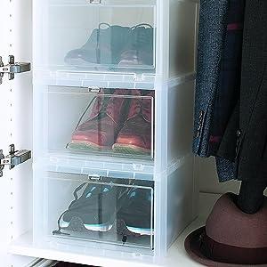Iris Ohyama, lot de 3 boîtes à chaussures boîtes de rangement pour chaussures Drop Front Box EUDF M, plastique, transparent, 14 L, 35,5 x 28 x
