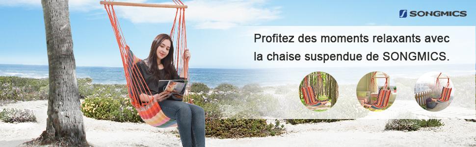 Chaise Suspendue Charge Max 200kg Int/érieur et Ext/érieur Couleur Arc-en-Ciel GDC45CV1 SONGMICS Chaise Hamac