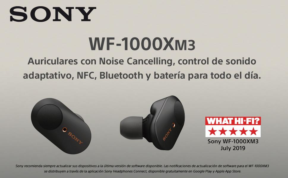 Sony WF-1000XM3 - Auriculares True Wireless Noise Cancelling (hasta 32h de batería, Bluetooth, detector de sonido ambiente, optimizado para Asistente ...