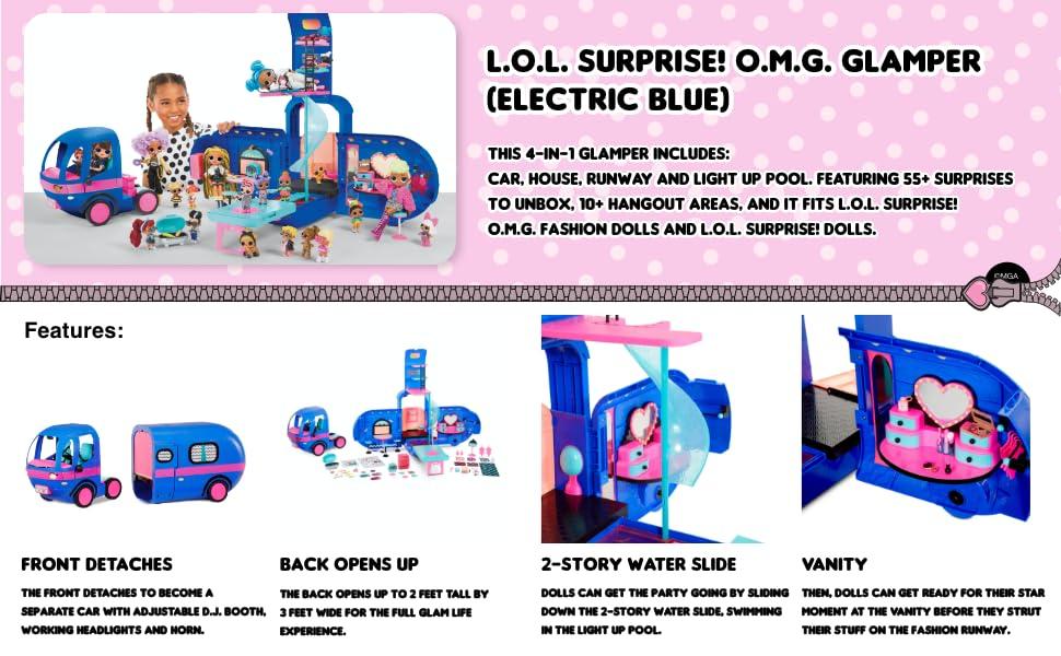 Surprises Car Pool Runway Slide Runway Details about  /LOL OMG 4-in-1 Blue Glamper Camper 55