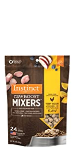 instinct raw boost mixers, dog food topper, freeze dried dog food, stella and chewy, stella & chewys