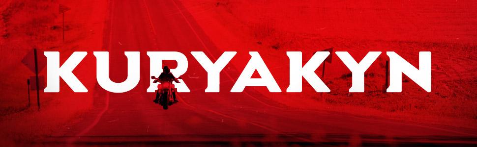 Motorcycle rider on road. Kuryakyn across banner.