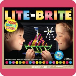 Retro stylized image showing Lite-Brite package