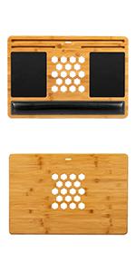 bamboo, lapdesk, lapgear, lap desk, natural wood, mouse pad, ventilation, wrist rest, tablet, laptop