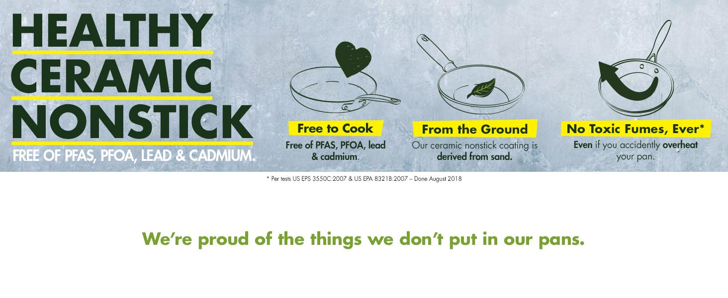 Ceramic nonstick, toxin-free, healthy, greenpan, cookware, no toxic fumes, pfoa free, no lead, PFAS