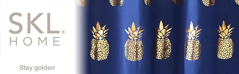 SKL Home Pineapple Bathroom Gold Shower Curtain Gilded