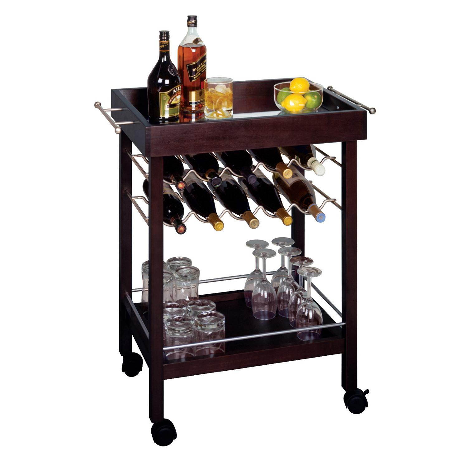 Amazon Com Winsome Wood Bar Cart Espresso Finish
