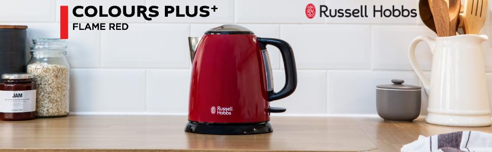 Russell Hobbs Colours Plus - Hervidor de Agua Eléctrico Pequeño (2400W, Hervidor de 1l, Kettle Inox, Rojo)-ref. 24992-70: Amazon.es: Hogar