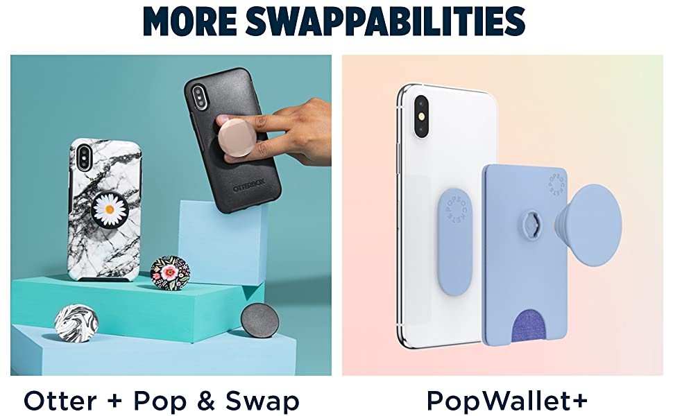 Left image shows an array of grip and Otter + Pop case products. Right image shows PopWallet +.