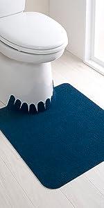 サンコー ずれない トイレマット 床汚れ防止 消臭 無地 ネイビー 55×60cm おくだけ吸着 日本製 KV-10