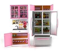 toy kitchen set cabinets open