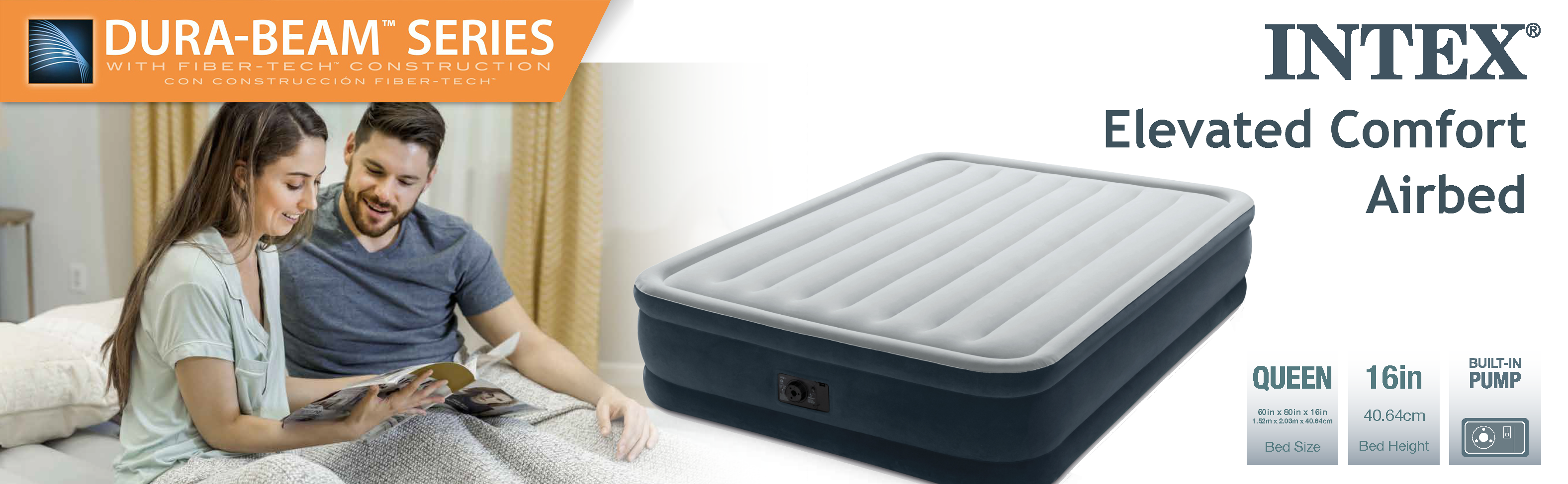 Intex Dura Beam Series Elevated Comfort Airbed With Built