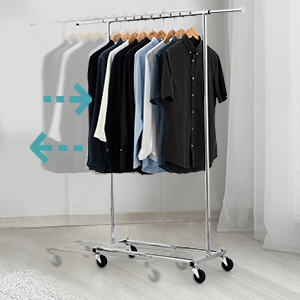 Bextsware Clothes Rack Multi-Function Garment Rack, Heavy Duty Commercial Grade Clothes Rolling Rack on Wheels with Expandable Collapsible Clothing ...