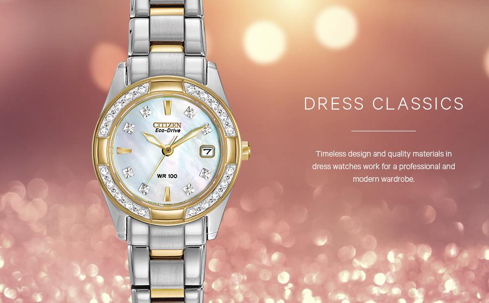 Citizen Eco-Drive Classic Quartz Womens Watch, Stainless Steel, Diamond, Two-Tone (Model: EW1824-57D)