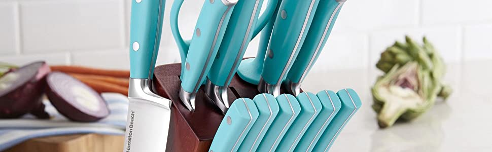 Hamilton Beach stainless steel knives blue teal knife set with block