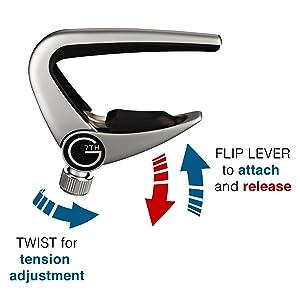 G7th Newport Capo flip lever release diagram