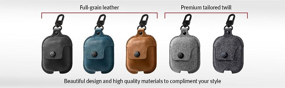 genuine leather, premium tailored twill