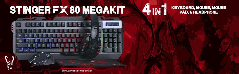 Woxter Stinger FX 80 Megakit - Kit Gaming (Teclado retroiluminado de Base metálica, ratón óptico hasta 3200 dpi, Alfombrilla de Microfibra 25x21 y Auriculares 2.0 con micrófono): Woxter: Amazon.es: Informática