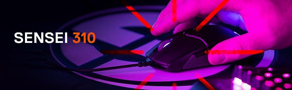 Steelseries Sensei 310 Mouse Ottico da Gioco, Ambidestro, Illuminazione RGB, 8 Pulsanti