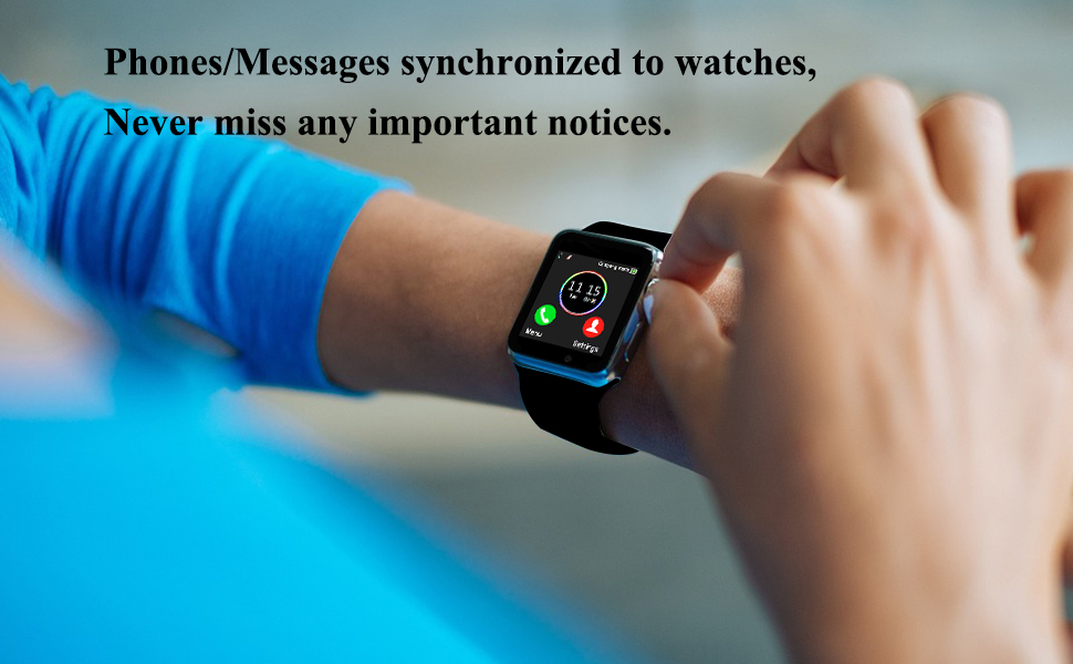 Smart Watch Phone Smartwatch with Camera Pedometer Call Text SNS Sync SIM Card Slot TF Card Music Player Alarm Compatible with Android and IPhone ...