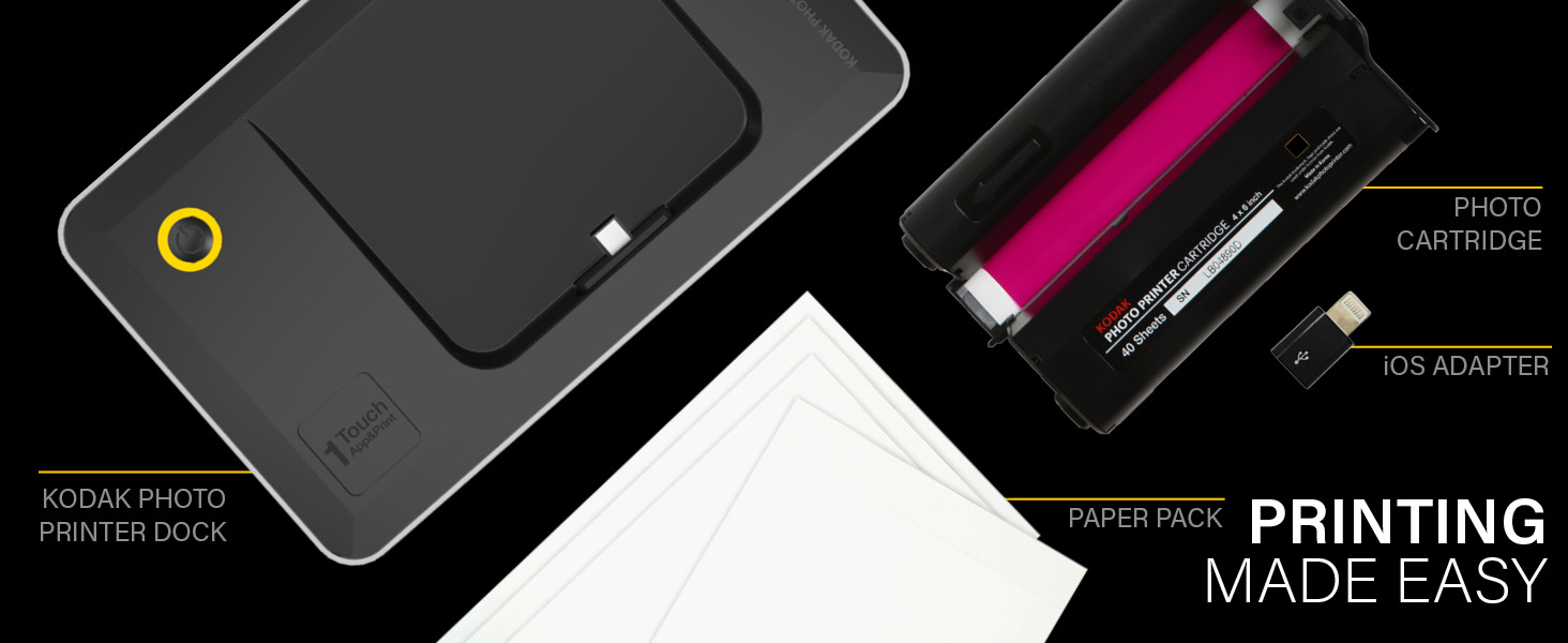 Kodak Printer iOS Android Dock WIFI Charge Print Instant 4x6 USB PictBridge