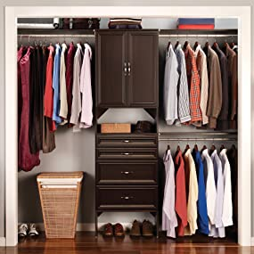 Closet, Closet Kit, All In One, Wood Closet, Espresso, Brown,