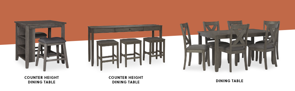 counter height dining table standard dining set rustic gray finish upholstered stools chairs