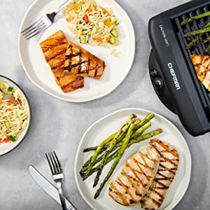 barbecue griller temperature control dishwasher-safe cool-touch sear non-stick grill pan kitchen