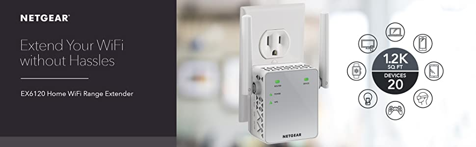 NETGEAR WiFi Range Extender EX6120 - Coverage up to 1200 sq ft  and 20  devices with AC1200 Dual Band Wireless Signal Booster & Repeater (up to