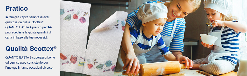 Confezione da 24 Maxi Rotoli Carta Cucina Opzione Mezzo Strappo Scottex Quanto Basta