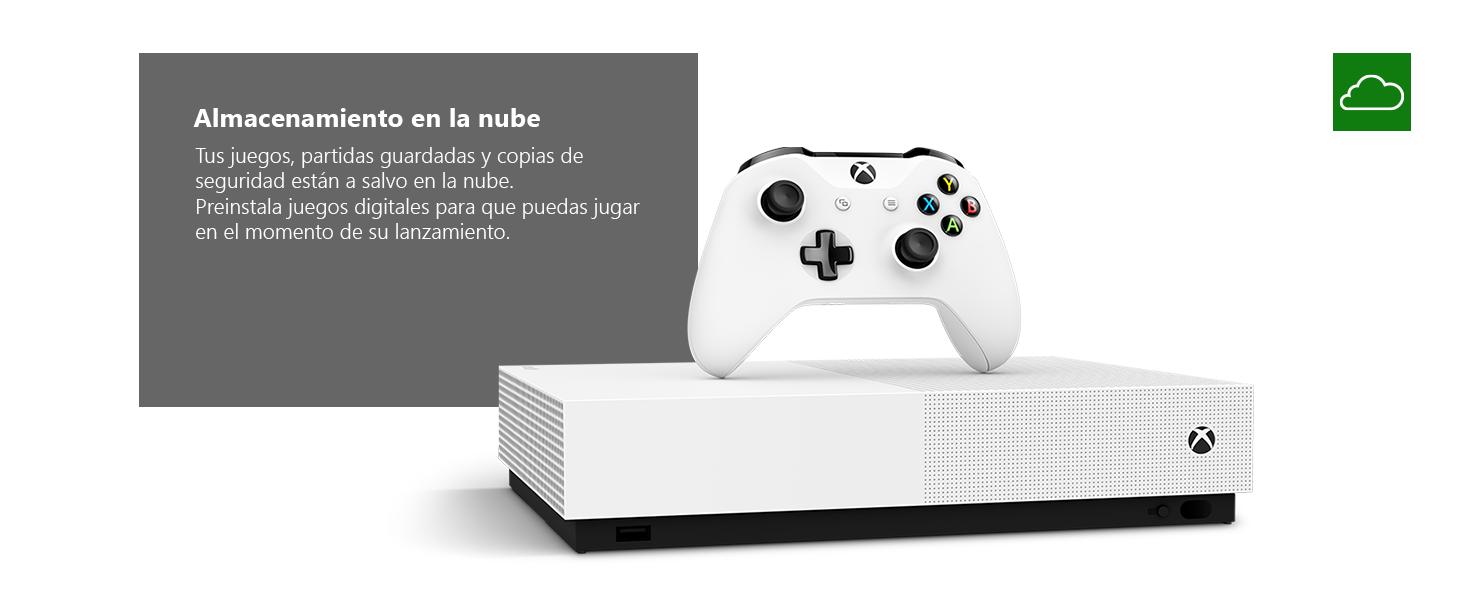 Microsoft Xbox One S All Digital - Consola de 1 TB, color blanco + 1 mes de Xbox Live Gold, 1 mando blanco, Forza Horizon 3 (juego digital), Minecraft (juego digital), Sea