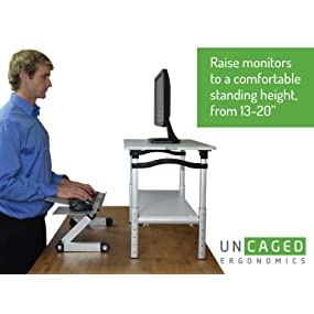 ergonomic standing desk conversion with tall adjustable height monitor riser