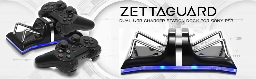 Black Zettaguard Dual USB Charger Station Dock for Sony PS3 Controller