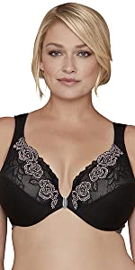brooklyn sexy lace bra front closure rose wonderwire wide straps bust plus size