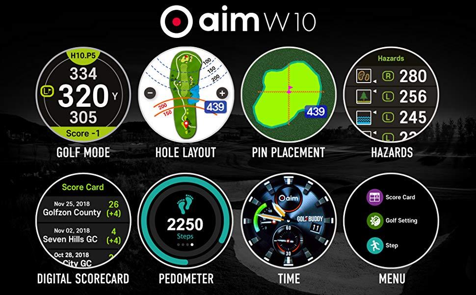 Golf GPS, Smartwatch, GPS Rangedfinder, GOLFBUDDY, W10, Golf Watch, GPS, Rangefinder, Hole Layout