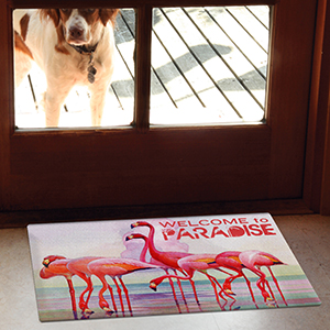 flamingo paradise;doormat;indoor