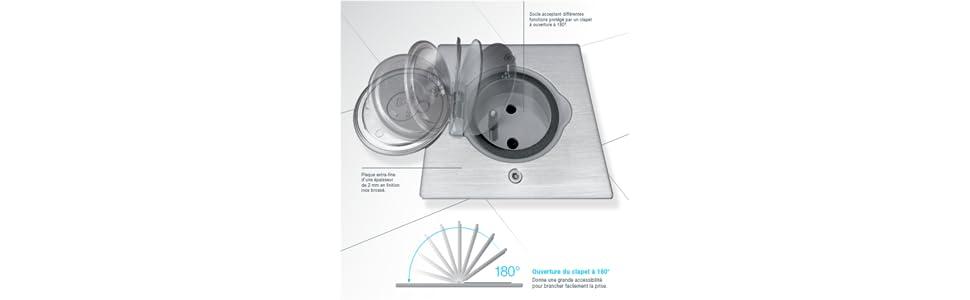 arnould arn50732 kit prise rond 2p t plan de travail ebay. Black Bedroom Furniture Sets. Home Design Ideas