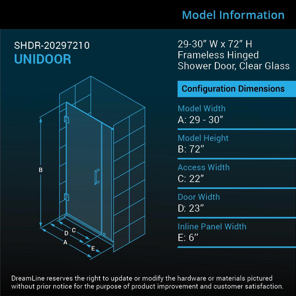 DreamLine Unidoor 29 in. W x 72 in. H Frameless Hinged Shower Door ...