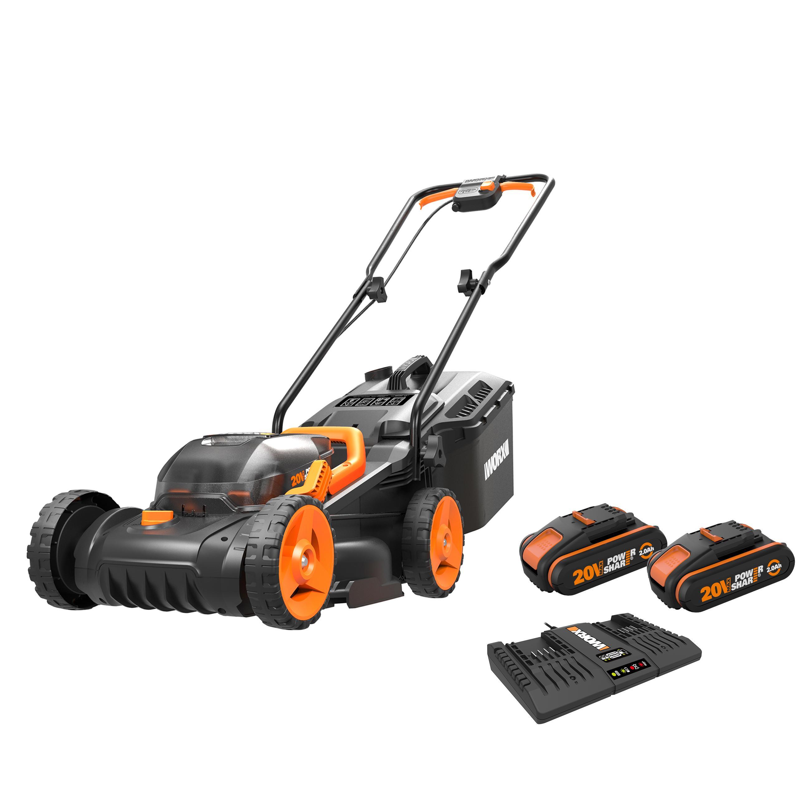 Worx Wg779e 2 Cordless Lawn Mower 34cm Dual 20v Batteries