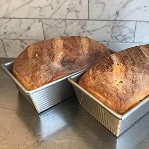Sour dough bread in a loaf pan