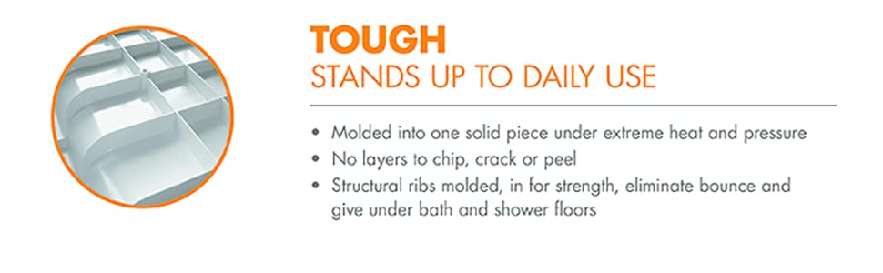 tough, durable, sterling, vikrell, durable bath, strong shower, strength, no bounce, molded shower