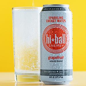 hiball sparkling energy water zero calories zero sugar grapefruit lemon lime peach wild berry